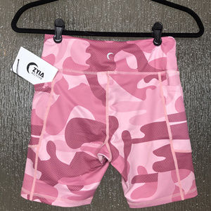 ZYIA Shorts - Pink Camo Light n Tight Pocket Hustle Shorts 6""